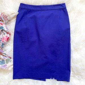 NEW LOFT  Pencil Skirt Stretch Cotton Cobalt Blue